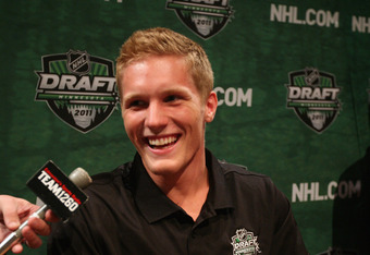 MINNEAPOLIS, MN - JUNE 23: Gabriel  Landeskog answers reporters questions at the Top Prospects Media Opportunity at the Walker Art Center on June 23, 2011 in Minneapolis, Minnesota.  (Photo by Bruce Bennett/Getty Images)