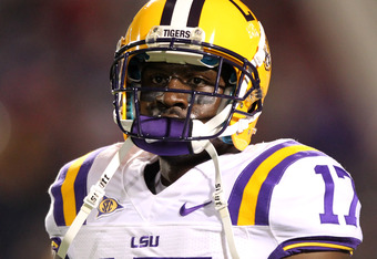 OXFORD, MS - NOVEMBER 19: Morris Claiborne #17 of the LSU Tigers looks on against the Ole Miss Rebels on November 19, 2011 at Vaught-Hemingway Stadium in Oxford, Mississippi. LSU beat Mississippi 52-3. (Photo by Joe Murphy/Getty Images)