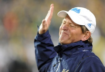 EUGENE, OR - DECEMBER 02 : Head coach Rick Neuheisel of the UCLA Bruins shows his feelings about an official's call in the second quarter of the Pac-12 Championship game against the Oregon Ducks at Autzen Stadium on December 2, 2011 in Eugene, Oregon. (Ph