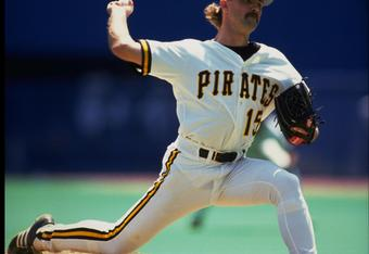 1989:  PITTSBURGH PIRATES PITCHER DOUG DRABEK COCKS HIS ARM BACK TO PITCH DURING THE PIRATES GAME AT THREE RIVERS STADIUM IN PITTSBURGH, PENNSYLVANIA.
