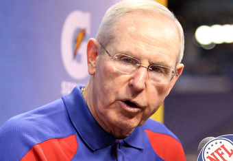 INDIANAPOLIS, IN - JANUARY 31:  Head coach Tom Coughlin of the New York Giants answers question from the media during Media Day ahead of Super Bowl XLVI against the New England Patriots at Lucas Oil Stadium on January 31, 2012 in Indianapolis, Indiana.  (