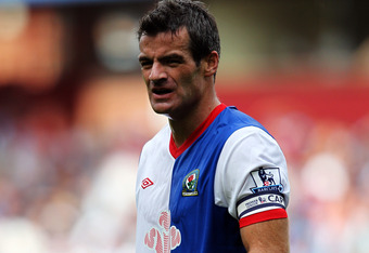 BIRMINGHAM, ENGLAND - AUGUST 20:  Ryan Nelsen of Blackburn in action during the Barclays Premier League match between Aston Villa and Blackburn Rovers at Villa Park on August 20, 2011 in Birmingham, England.  (Photo by Dean Mouhtaropoulos/Getty Images)