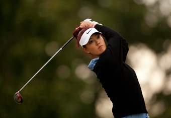 ROGERS, AR - SEPTEMBER 10: Michelle Wie plays a tee shot during the second round of the Wal-Mart NW Arkansas Championship presented by P&G at Pinnacle Country Club on September 10, 2011 in Rogers, Arkansas. (Photo by Darren Carroll/Getty Images)