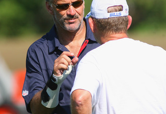 PITTSFORD, NY - AUGUST 08:  Dave Wannstedt, Assistant head coach/linebackers coach of the Buffalo Bills talks to Head coach Chan Gailey during Buffalo Bills Training Camp at St. John Fisher College on August 8, 2011 in Pittsford, New York.  (Photo by Rick
