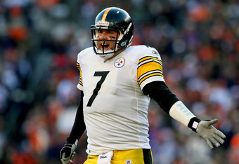 DENVER, CO - JANUARY 08:  Ben Roethlisberger #7 of the Pittsburgh Steelers reacts after a play against the Denver Broncos during the AFC Wild Card Playoff game at Sports Authority Field at Mile High on January 8, 2012 in Denver, Colorado.  (Photo by Jeff