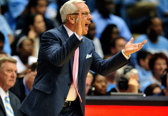CHAPEL HILL, NC - JANUARY 07:  Coach Roy Williams of the North Carolina Tar Heels shouts instructions to his team against the Boston College Eagles during play at the Dean Smith Center on January 7, 2012 in Chapel Hill, North Carolina.  (Photo by Grant Ha