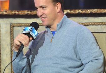 INDIANAPOLIS, IN - FEBRUARY 04:  NFL player Peyton Manning speaks at DIRECTV's Sixth Annual Celebrity Beach Bowl Game at Victory Field on February 4, 2012 in Indianapolis, Indiana.  (Photo by Michael Buckner/Getty Images for DirecTV)