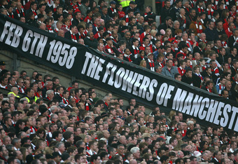 MANCHESTER, UNITED KINGDOM - FEBRUARY 10:  Manchester United Supporters show off a banner to honour the victims of the Munich Air disaster which happened 50 years ago on February 6th 1958, during the Barclays Premier League match between Manchester United
