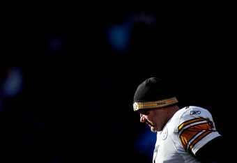 DENVER, CO - JANUARY 08:  Ben Roethlisberger #7 of the Pittsburgh Steelers stands on the field prior to their AFC Wild Card Playoff game against the Denver Broncos at Sports Authority Field at Mile High on January 8, 2012 in Denver, Colorado.  (Photo by J