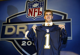 NEW YORK - APRIL 24:  Eli Manning holding up a San Diego Chargers jersey was selected first pick overall by the Chargers then traded to the New York Giants for Philip Rivers and 3 draft picks during the 2004 NFL Draft on April 24, 2004 at Madison Square G
