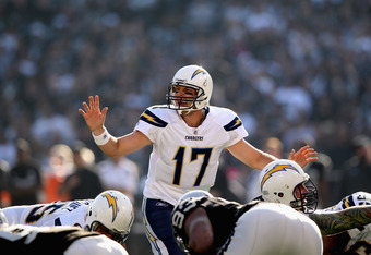OAKLAND, CA - JANUARY 01:  Philip Rivers #17 of the San Diego Chargers in action against the Oakland Raiders at O.co Coliseum on January 1, 2012 in Oakland, California.  (Photo by Ezra Shaw/Getty Images)