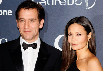 LONDON, ENGLAND - FEBRUARY 06:   Actor Clive Owen and actress Thandie Newton attend the 2012 Laureus World Sports Awards at Central Hall Westminster on February 6, 2012 in London, England.  (Photo by Tom Dulat/Getty Images for Laureus)