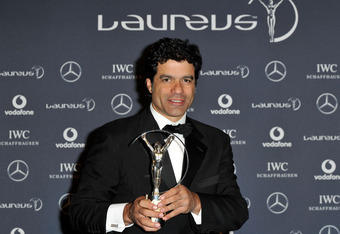 LONDON, ENGLAND - FEBRUARY 06:  Rai Souza Vieira De Oliveira poses with his Laureus Sport For Good trophy in the press room at the 2012 Laureus World Sports Awards at Queen Elizabeth II Conference Centre on February 6, 2012 in London, England.  (Photo by