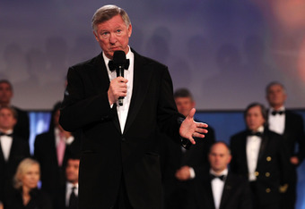LONDON, ENGLAND - FEBRUARY 06:  Sir Alex Ferguson accepts the Laureus Lifetime Achievement Award on behalf of Academy member Bobby Charlton on stage at the 2012 Laureus World Sports Awards at Central Hall Westminster on February 6, 2012 in London, England