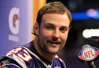 INDIANAPOLIS, IN - JANUARY 31:  Wes Welker #83 of the New England Patriots answers questions from the media during Media Day ahead of Super Bowl XLVI against the New York Giants at Lucas Oil Stadium on January 31, 2012 in Indianapolis, Indiana.  (Photo by