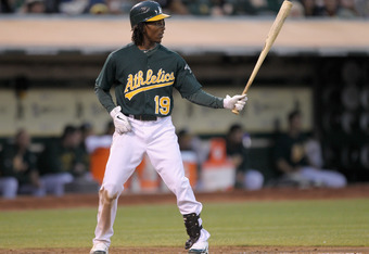 OAKLAND, CA - AUGUST 19:  Jemile Weeks #19 of the Oakland Athletics bats against the Toronto Blue Jays at O.co Coliseum on August 19, 2011 in Oakland, California.  (Photo by Ezra Shaw/Getty Images)
