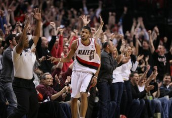 PORTLAND, OR - APRIL 24:  Nicolas Batum #88 of the Portland Trail Blazers reacts near the end of the 96-87 defeat of the Phoenix Suns during Game Four of the Western Conference Quarterfinals of the NBA Playoffs on April 24, 2010 at the Rose Garden in Port