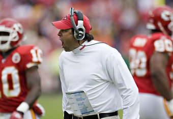 KANSAS CITY, MO - NOVEMBER 22: Head Coach Todd Haley of the Kansas City Chiefs yells at  his players coming off the field in NFL game action against the Pittsburgh Steelers at Arrowhead Stadium on November 22, 2009 in Kansas City, Missouri.  The Chiefs de