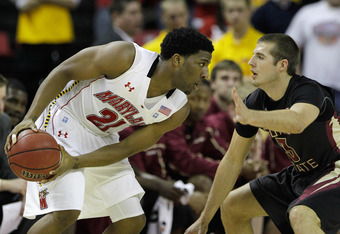 COLLEGE PARK, MD - FEBRUARY 23: Pe'Shon Howard #21 of the Maryland Terrapins and Luke Loucks #3 of the Florida State Seminoles at the Comast Center on February 23, 2011 in College Park, Maryland.  (Photo by Rob Carr/Getty Images)