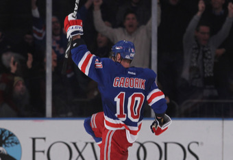 NEW YORK, NY - JANUARY 05:  Marian Gaborik #10 of the New York Rangers celebrates his game winning goal at 3:21 of overtime against the Florida Panthers at Madison Square Garden on January 5, 2012 in New York City. The Rangers defeated the Panthers 3-2 in