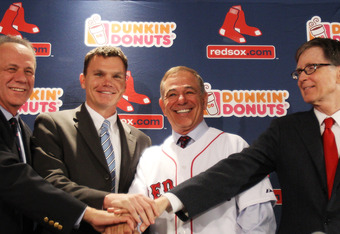 BOSTON, MA - DECEMBER 01: (L-R) President and CEO of the Red Sox Larry Lucchino, Executive Vice President and General manager Ben Cherington, Bobby Valentine and Principal Owner John Henry attend a press conference announcing Valentine as the new manager