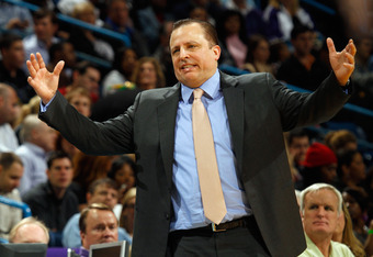 NEW ORLEANS, LA - FEBRUARY 08:  Head coach Tom Thibodeau of the Chicago Bulls reacts to a play during the game against the New Orleans Hornets at New Orleans Arena on February 8, 2012 in New Orleans, Louisiana.  NOTE TO USER: User expressly acknowledges a