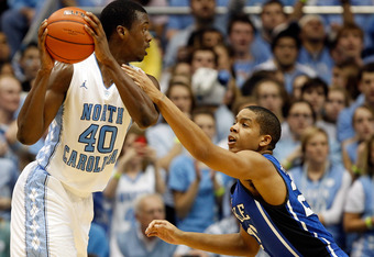 CHAPEL HILL, NC - FEBRUARY 08:  Harrison Barnes #40 of the North Carolina Tar Heels and Andre Dawkins #20 of the Duke Blue Devils during their game at the Dean Smith Center on February 8, 2012 in Chapel Hill, North Carolina.  (Photo by Streeter Lecka/Gett