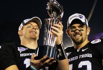 Former TCU quarterback Andy Dalton and linebacker Tank Carder following Rose Bowl win over Wisconsin.