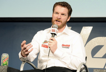 CONCORD, NC - JANUARY 25:  Dale Earnhardt Jr., driver of the #88 Diet Mountain Dew Chevrolet, speaks with the media during the 2012 NASCAR Sprint Cup Series Media Tour hosted by Charlotte Motor Speedway on January 25, 2012 in Concord, North Carolina.  (Ph