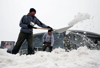 Winter storm hammers Arlington, Texas prior to Super Bowl XLV