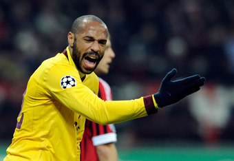 MILAN, ITALY - FEBRUARY 15:  Thierry Henry of Arsenal FC during the UEFA Champions League round of 16 first leg match between AC Milan and Arsenal FC at Stadio Giuseppe Meazza on February 15, 2012 in Milan, Italy.  (Photo by Claudio Villa/Getty Images)