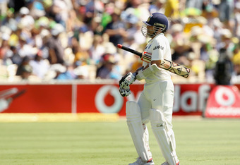 ADELAIDE, AUSTRALIA - JANUARY 26:  Sachin Tendulkar of India leaves the field after being dismissed during day three of the Fourth Test Match between Australia and India at Adelaide Oval on January 26, 2012 in Adelaide, Australia.  (Photo by Hamish Blair/