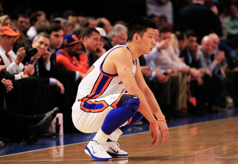 NEW YORK, NY - FEBRUARY 15:  Jeremy Lin #17 of the New York Knicks looks on against the Sacramento Kings at Madison Square Garden on February 15, 2012 in New York City. NOTE TO USER: User expressly acknowledges and agrees that, by downloading and/or using