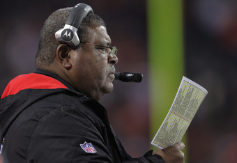 DENVER, CO - JANUARY 01:  Head coach Romeo Crennel leads the Kansas City Chiefs to a 7-3 victory over the Denver Broncos at Sports Authority Field at Mile High on January 1, 2012 in Denver, Colorado.  (Photo by Doug Pensinger/Getty Images)
