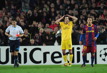 van Persie got sent off at Barcelona in last year's Champions League round of 16