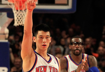 NEW YORK, NY - FEBRUARY 19:  Jeremy Lin #17 of the New York Knicks and his teammate Amare Stoudemire #1 of the New York Knicks react during the game against the Dallas Mavericks at Madison Square Garden on February 19, 2012 in New York City. NOTE TO USER: