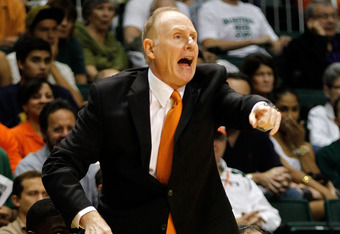 CORAL GABLES, FL - DECEMBER 06:  Head coach Jim Larranaga of the Miami Hurricanes yells from the bench during a game against the Memphis Tigers at the BankUnited Center on December 6, 2011 in Coral Gables, Florida.  (Photo by Mike Ehrmann/Getty Images)