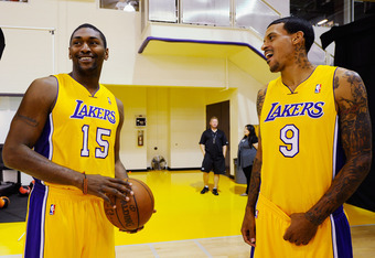 EL SEGUNDO, CA - SEPTEMBER 25:  Ron Artest #15 and Matt Barnes #9 of the Los Angeles Lakers talk during Media Day at the Toyota Center on September 25, 2010 in El Segundo, California. NOTE TO USER: User expressly acknowledges and agrees that, by downloadi