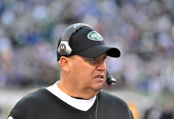EAST RUTHERFORD, NJ - DECEMBER 24: Head coach Rex Ryan of the New York Jets looks on during the game against the New York Jets on December 24, 2011 at MetLife Stadium in East Rutherford, New Jersey. (Photo by Christopher Pasatieri/Getty Images)