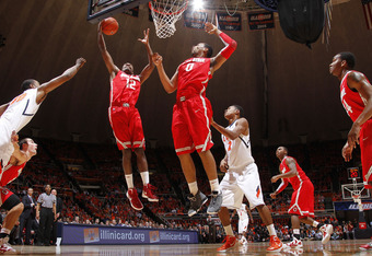 CHAMPAIGN, IL - JANUARY 10: Sam Thompson #12 and Jared Sullinger #0 of the Ohio State Buckeyes rebound against the Illinois Fighting Illini during first half action at Assembly Hall on January 10, 2012 in Champaign, Illinois. (Photo by Joe Robbins/Getty I