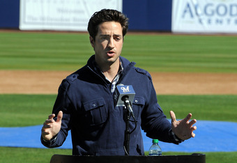 PHOENIX, AZ - FEBRUARY 24:  Ryan Braun of the Milwaukee Brewers talks to the media prior to spring workouts at Maryvale Baseball Park on February 24, 2012 in Phoenix, Arizona.  (Photo by Norm Hall/Getty Images)
