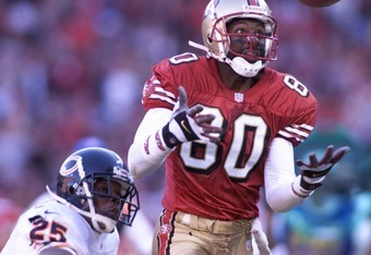 17 Dec 2000: Jerry Rice #80 of the San Francisco 49ers is defended by Jerry Azumah of the Chicago Bears during their game at 3Comm Park in San Francisco, California. San Francisco went on to win 17-0. DIGITAL IMAGE. Mandatory Credit: Jed Jacobsohn/ALLSPOR