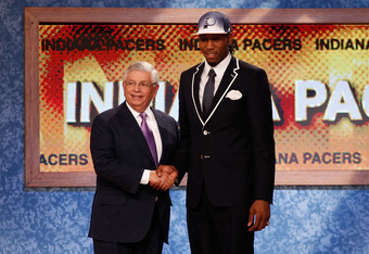 NEWARK, NJ - JUNE 23:  Kawhi Leonard from San Diego State greets NBA Commissioner David Stern after he was selected #15 overall by the Indiana Pacers in the first round during the 2011 NBA Draft at the Prudential Center on June 23, 2011 in Newark, New Jer
