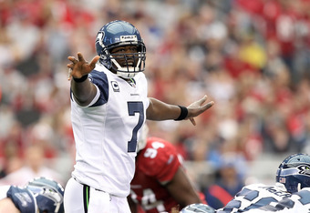 GLENDALE, AZ - JANUARY 01:  Quarterback Tarvaris Jackson #7 of the Seattle Seahawks during the NFL game against the Arizona Cardinals at the University of Phoenix Stadium on January 1, 2012 in Glendale, Arizona.  The Cardinals defeated the Seahawks 23-20