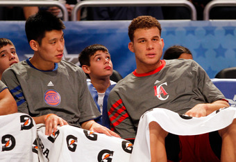 ORLANDO, FL - FEBRUARY 24:  (L-R) Jeremy Lin #17 of the New York Knicks and Team Shaq and Blake Griffin #32 of the Los Angeles Clippers and Team Shaq look on form the bench during the BBVA Rising Stars Challenge part of the 2012 NBA All-Star Weekend at Am