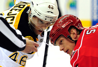 Could these two opponents (Eric Staal, right, and David Krejci, left) soon be teammates?