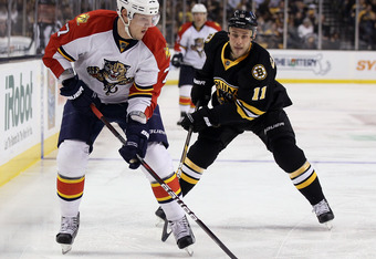 BOSTON, MA - DECEMBER 08: Dmitry Kulikov #7 of the Florida Panthers looks for an opening as Gregory Campbell #11 of the Boston Bruins defends on December 8, 2011 at TD Garden in Boston, Massachusetts.  (Photo by Elsa/Getty Images)