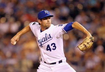 KANSAS CITY, MO - AUGUST 16:  Pitcher Aaron Crow #43 of the Kansas City Royals in action during the game against the New York Yankees at Kauffman Stadium on August 16, 2011 in Kansas City, Missouri.  (Photo by Jamie Squire/Getty Images)