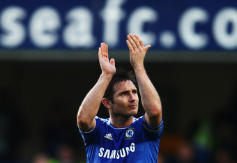 LONDON, ENGLAND - FEBRUARY 25:  Frank Lampard of Chelsea celebrates following the Barclays Premier League match between Chelsea and Bolton Wanderers at Stamford Bridge on February 25, 2012 in London, England.  (Photo by Clive Mason/Getty Images)