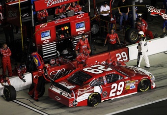 DAYTONA BEACH, FL - FEBRUARY 18:  Kevin Harvick, driver of the #29 Budweiser Chevrolet, pits during the NASCAR Budweiser Shootout at Daytona International Speedway on February 18, 2012 in Daytona Beach, Florida.  (Photo by Jamie Squire/Getty Images)